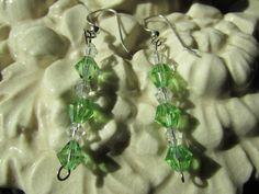 Green &  clear iridescent handcrafted Swarovski by Glitteredtoo.etsy.com