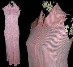 Fabulous Vintage 60s Pink White Candy Striped Nylon Gown Robe Dress M | eBay