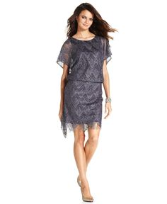 SL Fashions Dress, Short-Sleeve Metallic Fringe Blouson - Womens Dresses - Macy's