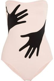 Moschino Strapless hand-appliquéd swimsuit