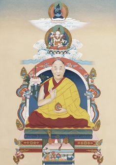 """H.H. The 14th Dalai Lama    11"""" x 19"""" Ground Pigment and Gold on Cotton    2007    Private Collection    On the top of the painting is Vajradhara with consort, also known as Vajradhara yab yum, in Dharmakaya form. Below Vajradhara yab yum is Vajrasattva with consort in Samboghakaya aspect. In the center, H.H. the 14th Dalai Lama is depicted in his formal form holding lotus, dharma text and wisdom sword in his left hand and right hand he is depicted holding a dharma wheel."""