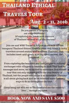 Dream of hanging out with elephants? Join Diana Edelman and WSE Travel to experience the best of ethical tourism on this 10-day Thailand tour. It's all about having an amazing time, learning about the Land of Smiles and giving back to the locals on this one-of-a-kind tour. Book now and save $500.