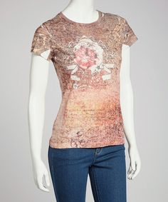 Take a look at this Orange Burnout Short-Sleeve Top by Ash & Sara on #zulily today!
