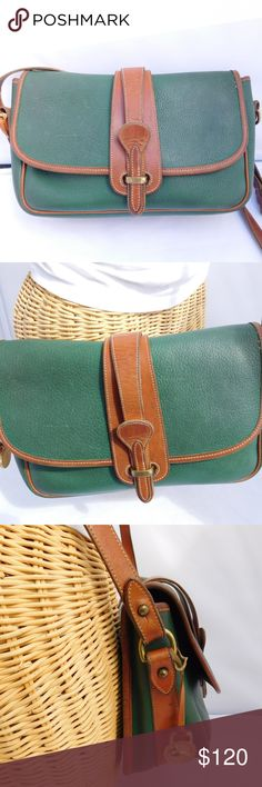 """DOONEY & BOURKE Forest Green Classic Crossbody Bag Brand Dooney & Bourke Style Crossbody Bag Size 10.5"""" Length, 7.5"""" height, 4"""" width, 22"""" strap drop (ADJUSTABLE) Color- FOREST GREEN WITH TAN TRIM Material- LEATHER Features- 1 main compartment, 2 open pockets, 1 zip pocket Condition- PRE-OWNED VINTAGE Outside- LEATHER WEAR, SCUFFS ON EDGES AND TARNISHED HARDWARE. Inside- NORMAL WEAR OVERALL CONDITION VERY GOOD VINTAGE. (SEE PICS) [PB17] Dooney & Bourke Bags Crossbody Bags"""