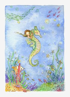 XL Mermaid Art, Print, Mermaid Illustration, Seahorse and Mermaid Signed Print Mermaid Sign, Mermaid Fairy, Mermaid Book, Mermaid Illustration, Illustration Art, Seahorse Art, Seahorses, Seahorse Painting, Mermaids And Mermen