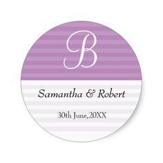 Wedding Monogram Stickers:Purple Stripes