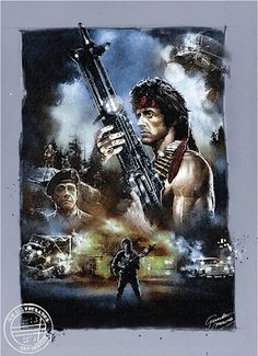 """Sylvester Stallone as John Rambo in First Blood """"They drew first blood… 80s Movies, Action Movies, Film Movie, Sylvester Stallone, Rambo 3, Creed Movie, Stick Fight, Funny Caricatures, First Blood"""