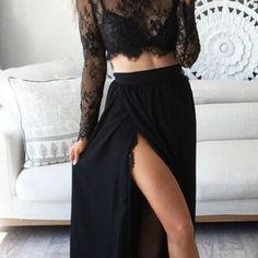 Fashion two piece black long prom dress