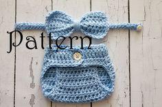 Crochet PATTERN - Newborn to 6 months Little Mister set Photo Prop Set -Instant Download PDF 80- Photography Prop Pattern