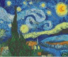STARRY NIGHT Latch Hook Rug Hooking COLOR Chart Pattern