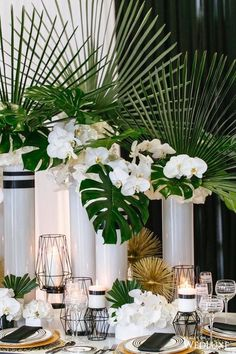 Tropical decoration for a reception. - Tropical decoration for a reception. Tropical Wedding Centerpieces, Tropical Wedding Reception, Hawaii Wedding, Table Centerpieces, Wedding Decorations, Table Decorations, Centerpiece Ideas, Tropical Floral Arrangements, White Orchid Centerpiece