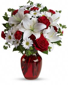 Be My Love Bouquet with Red Roses Flowers - Add some romance to the holiday season with this rich arrangement of luxurious flowers in classic winter colors. Red roses, snow white lilies and play. Romantic Flowers, Love Flowers, Beautiful Flowers, Wedding Flowers, Send Flowers, Love Rose Flower, Flowers Today, Order Flowers, Fresh Flowers