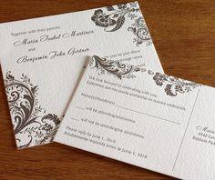 Allison Letterpress Wedding Invitation Set - 1 color