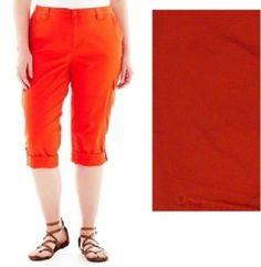 St Johns Bay Womens Cargo Capri Roll Cuffed Orange Solid size 22W NEW 16.99 https://www.ebay.com/itm/253102864399