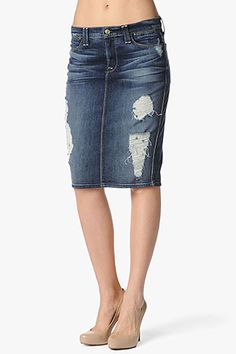Current/Elliott Blue The Stiletto Pencil Distressed Denim Skirt ...