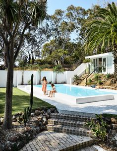 An mid-century architectural gem in Mount Martha restored to glory, complete with terrazzo tiles and original swimming pool. Backyard Pool Designs, Swimming Pool Designs, Pool Landscaping, Plywood Furniture, Outdoor Furniture, Pool Landscape Design, Modern Pools, The Design Files, Lounge