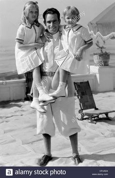 Harold Lloyd with his daughters, 1932