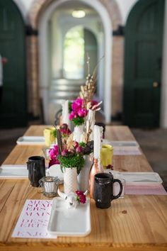 rustic, Southwestern-style inspiration shoot tablescape in white. black, and pink