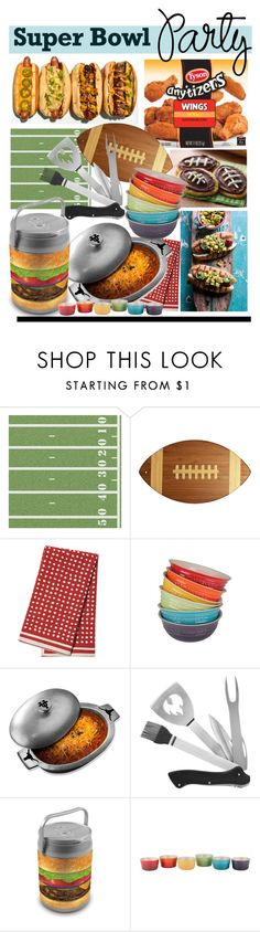 """Super Bowl! Which Im Not Watching"" by hellodollface ❤ liked on Polyvore featuring interior, interiors, interior design, home, home decor, interior decorating, Salsa, Totally Bamboo, Serena & Lily and Le Creuset"