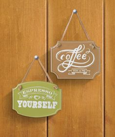 Loving this 'Espresso Yourself' & 'Coffee Tea or Me' Wall Sign Set on #zulily! #zulilyfinds