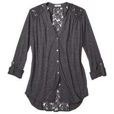 I'm looking for a top similar to one I saw a girl wearing on a commercial, and this comes kind of close -- Lace Detail Button Down Shirt - Assorted Colors