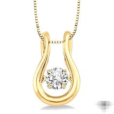 Smart White Gold Finish Ladies Round Dancing Diamond Cushion Frame Pendant Necklace Highly Polished Jewelry & Watches