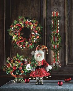 -5YLN MacKenzie-Childs  Courtly Christmas Large Wreath Courtly Christmas Small Wreath