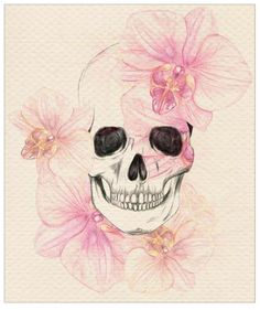 I love the design of Orchids, and love love love the skull! Add a butterfly and you have my next tattoo.