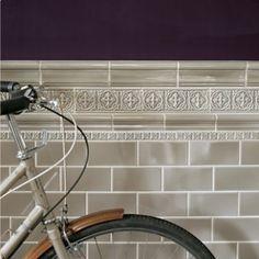 Niebla Décor B - Giralda - Wall & Floor Tiles Porch Wall Tiles, Brick Tile Wall, Room Tiles, Bathroom Floor Tiles, Wall And Floor Tiles, Loft Bathroom, Family Bathroom, Kitchen Tile, Victorian Porch