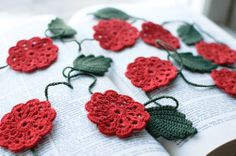 Crochet flower garland - Wedding embellishment Birthday Party decoration Red flower. $45.00, via Etsy.