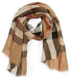 Burberry 'Giant Exploded Check' Linen Scarf