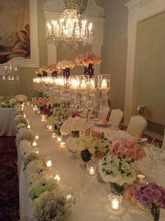 Pastel flowers compositions in vases, pastel flowers external runner with tea light candles and crystal candlelabras Tea Light Candles, Tea Lights, Pastel Flowers, Italy Wedding, Vases, Floral Design, Table Decorations, Weddings, Crystals