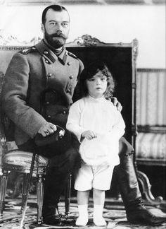 "Tsar Nicholas II of Russia with his son and heir,Tsarevich Alexei Nikolaevich Romanov of Russia. ""AL"""