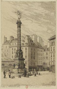 Place du Châtelet, 1840 | Dessin par Marvy