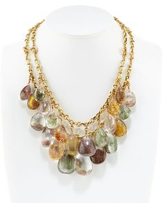 Stephen Dweck Bronze Quartz Bib Necklace