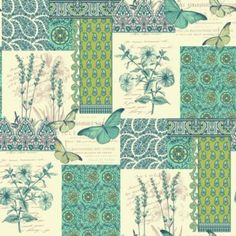 Patience Wallpaper in Green by Unlimited. Love this mix of different designs!