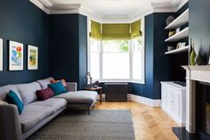 Super talented interior designer Beth Dadswell from has used our Oak Aged Parquet for this lovely living room. Love the dark walls and the hint of lime to bring the room alive. Love our wooden floor too but that goes without saying! Navy Living Rooms, Living Room Green, Blue Rooms, White Rooms, New Living Room, Living Room Sofa, Home And Living, Living Room Decor, Blinds In Living Room
