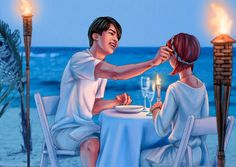 Finally finished Jin summer fanart!! Summer is almost over, but for now let's eat dinner with Jin at the beach ^^