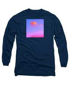 Colorful Enhanced And Manipulated Photo Tiny Bright Clouds Drifting Peacefully Along Above A Sunset Sky Long Sleeve T-Shirt featuring the digital art Little Pink Clouds by Expressionistartstudio Priscilla-Batzell