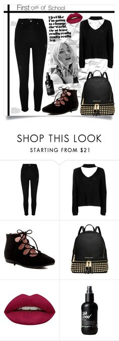 """Hi There I'm"" by bitty-junkkitty ❤ liked on Polyvore featuring River Island, Boohoo, Taryn Rose, Michael Kors and Huda Beauty"