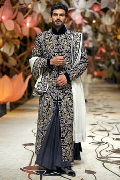 Rohit Bal Aamby Valley India Bridal Week Rohit Bal Collection, Designs, Fashion Shows, Mens Fashion, Pictures and Photos on Bigindianwedding Wedding Dresses Men Indian, Wedding Dress Men, Indian Dresses, Indian Outfits, Wedding Wear, Indian Weddings, Mens Sherwani, Wedding Sherwani, Rohit Bal