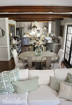 Flip this layout and it would work for the cottage! Decorating with Neutrals - Driven by Decor Dining Room Decor Small Living Rooms, Living Room Decor, Dining Living Room Combo, Dining Rooms, Family Rooms, Oval Dinning Room Table, Open Floor Plan Living Room And Dining, Decorating Small Living Room, Dining Room Centerpiece