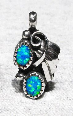 Vintage Signed Navajo Sparkling Blue Green Opal 925 Silver Womans Pendant USA NR