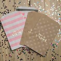 ON SALE NOW! 20% off in September 2015! Foil stamped treat bags, candy bar, wedding favors, gold foil, cocktail party, party supplies, Love is Sweet