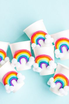 Desserts + Parties + Fun Snacks DIY Rainbow Party Cups ⋆ Handmade Charlotte Wedding Dresses And Thei Rainbow Party Decorations, Rainbow Parties, Rainbow Theme, Birthday Party Decorations, Rainbow Party Favors, Rainbow First Birthday, Unicorn Birthday Parties, First Birthday Parties, Dessert Party