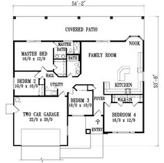 Adobe / Southwestern Style House Plan   4 Beds 2 Baths 1650 Sq/Ft Plan