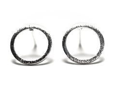 åben cirkel øreringe, sølv