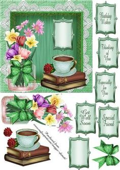 Green Floral 6 Inch Topper  on Craftsuprint designed by Maggie Skerrett - Quick 6inch square topper in shades of green, Features flowers, a cup of tea/coffee and a good book... perfect to let someone know you are thinking of them.  - Now available for download!