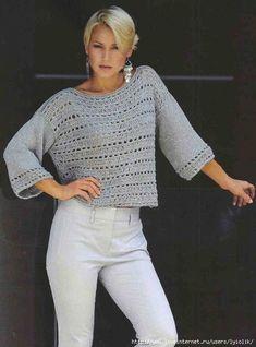 Crochet top summer fabrics 19 Ideas for 2019 Crochet Tunic Pattern, Crochet Blouse, Sweater Knitting Patterns, Top Pattern, Crochet Lace, Crochet Patterns, Free Pattern, Crochet Sweaters, Crochet Summer Tops