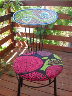 Garbage Chair Makeover~ New Painted, Reupholstered With Funky Ikea Fabric,  And Added Mosaic